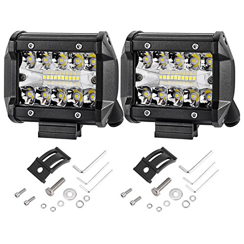 LED Pods, AKD Part 2pcs 120W Triple Row LED Light Bar 4 inch Spot Flood Combo Beam OSRAM LED Driving Lights Off Road Lighting LED Work Lights for Truck Car ATV Boat SUV, 2 years Warranty