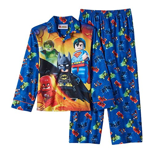 Dc Comics LEGO Superheroes Boy's Size 10 Flannel Pajama Set,
