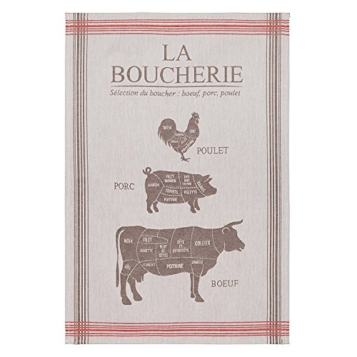 COUCKE French Cotton Jacquard Towel French Gourmet Collection, Boucherie (Butcher) Taupe, 20-Inches by 30-Inches, - French Towel Tea