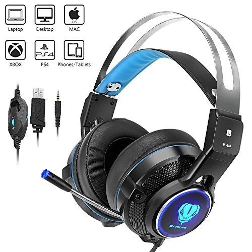 - Gaming Headset for X-Box One, PS4, Weton Stereo Over-Ear Video Gaming Headset with Mic 3.5mm Wired Noise Isolation Gaming Headphone Headband LED Light for PC Laptop Tablet Mac Smartphones