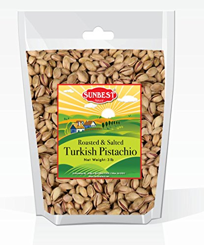 Antep Pistachios - SUNBEST TURKISH PISTACHIOS ANTEP ROASTED AND SALTED IN RESEALABLE BAG (3 Lb)