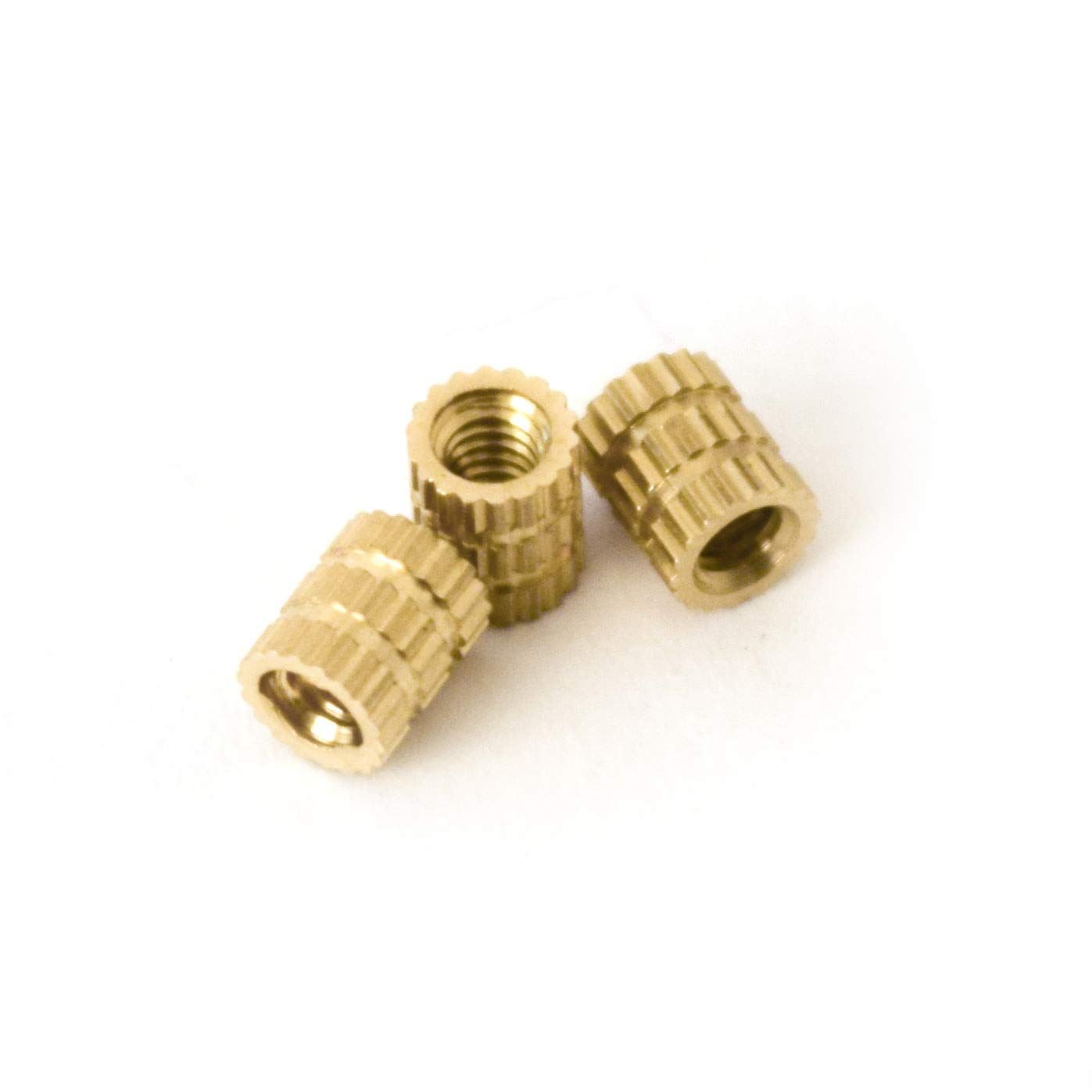 [ J&J Products ] M2 Brass Insert, 4 mm (Length), Female Thread, Press Fit/Injection Mold Type, 100 pcs by J&J Products
