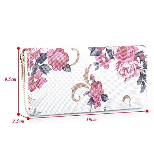 MaxFox Women Fashion Single Pull Rose Long Wallet Zipper Coin Purse Phone Bag Divider Organizer Storage Clutches (A) by MaxFox (Image #3)