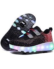 Unisex kinderen LED licht USB oplaadbare skateboardschoenen met wieltjes, drukknop instelbare rollerblades inline skates outdoor sport fitnessschoenen gymnastiek running sneaker voor jongens meisjes