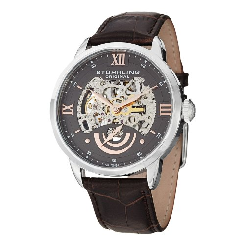 Stuhrling Original Men's 574.03 Analog Executive II Stainless Steel Automatic Skeleton Watch with Brown Leather Band Mens Executive Stainless Steel Watch