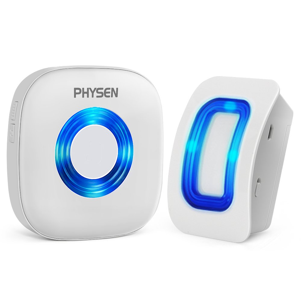 PHYSEN Wireless Door Motion Sensor Alarm,Door Open Chime Detect Alert, Home Security Door Entry Chime with 1 Motion Sensor and 1 Receiver,400ft Range,52 Chimes,4 Volume Levels,Build in LED Indicators