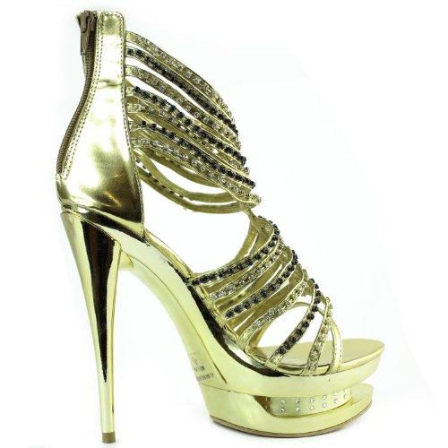 Femmes Brillant Cristal Clouté Cheville Sangle Du Soir Triple Plate-forme Sandales Chaussures De Mode Or