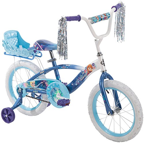 16' Huffy Kids Bicycle Disney Blue Frozen Graphics Swirly Snowflakes Bike for Girls with Training Wheels and Sleigh Doll Carrier
