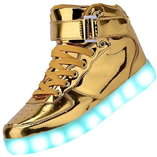 Padgene - Zapatillas unisex con luces LED intermitentes para niños, con carga por USB, 11colores dorado