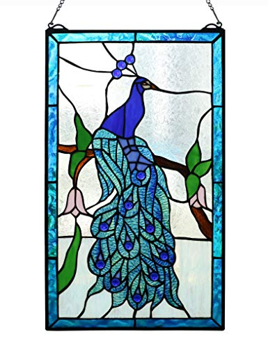 Peacock Stained Glass Panel - Yolic Tiffany Style Stained Glass Window Panel Transom Window Blue Peacock Window Panels 14