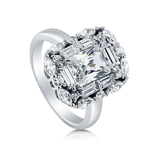BERRICLE Rhodium Plated Sterling Silver Radiant Cut Cubic Zirconia CZ Statement Art Deco Halo Engagement Ring 3 CTW Size 7