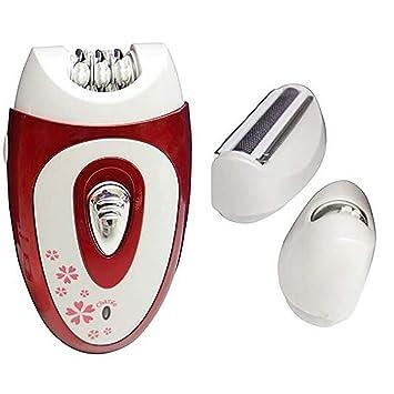 Recargable Señora Eléctrica Depiladora 3 En 1 Set Crema De Depilación para El Cabello De Las Mujeres Eliminar La Máquina De Afeitar De Cuerpo Completo,Red: ...