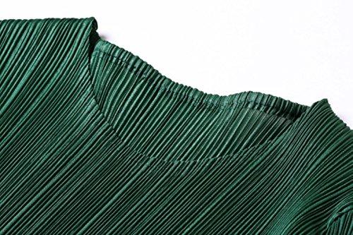Cotylédons Women`s Robes De Maille Formelle Col Rond Manches 3/4 Haute Robe Maxi Couleur Unie Taille Verte