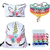 Unicorn Gifts 4 Pack - Unicorn Drawstring Backpack/Makeup Bag/Bracelet/Hair Tie (White Flower Unicorn)
