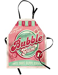 Lunarable 1950s Apron, Bubble Gum Tasty Candy Lollipop Sweet Sugar Advertise Poster Style, Unisex Kitchen Bib Apron with Adjustable Neck for Cooking Baking Gardening, Pale Pink Magenta Seafoam