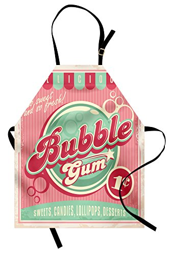 Lunarable 1950s Apron, Bubble Gum Tasty Candy Lollipop Sweet