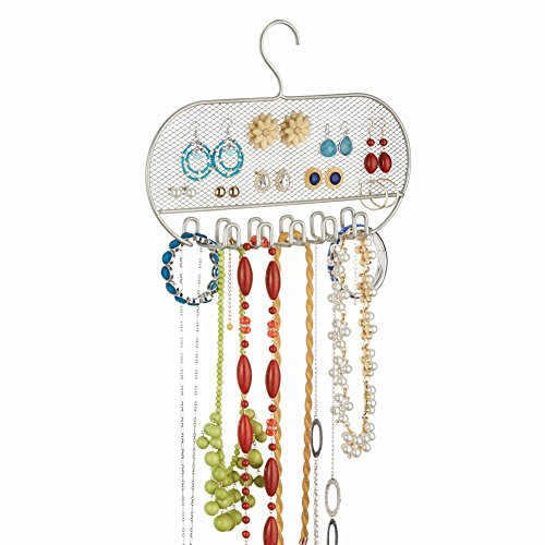 InterDesign Classico Jewelry Necklaces Bracelets Earrings Closet Organizer Hanger, Satin