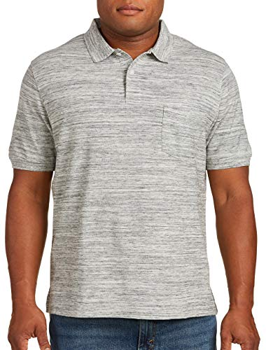 (Harbor Bay by DXL Big and Tall Space-Dye Pocket Pique Polo Grey)