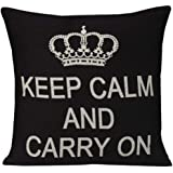 Royalours Cotton Linen Black Square Keep Calm and Carry Quote Throw Pillow Case Cushion Cover Home Sofa Decor Funny…