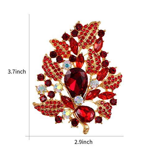 WeimanJewelry Gold Plated Large Rhinestone Glass Crystal Wedding Flower Leaf Bouquet Brooch Pin for Women (Red) by WeimanJewelry (Image #1)