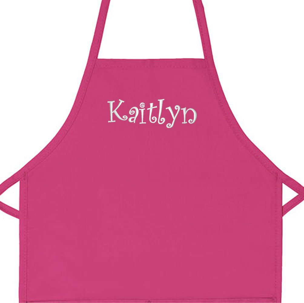 Personalized Apron Embroidered Add a Name Kids Apron (Hot Pink, Long 16'' x 24'' (for Kids Ages 7 to 11))