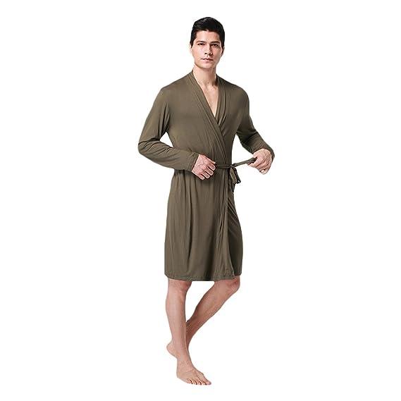 8b4bab7145 WEEN CHARM Men Cotton Soft Silky Modal Robe Satin Lounge Robe Long  Lightweight Sleepwear at Amazon Men s Clothing store