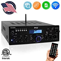 Wireless Bluetooth Power Amplifier System – 200W Dual Channel Sound Audio Stereo Receiver w/ USB, SD, AUX, MIC IN w/ Echo, Radio, LCD – For Home Theater Entertainment via RCA, Studio Use – Pyle PDA6BU