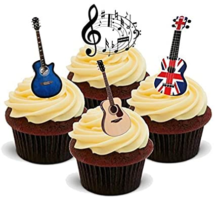 Novelty Electric Guitar 12 Stand Ups Edible Image Cake Toppers