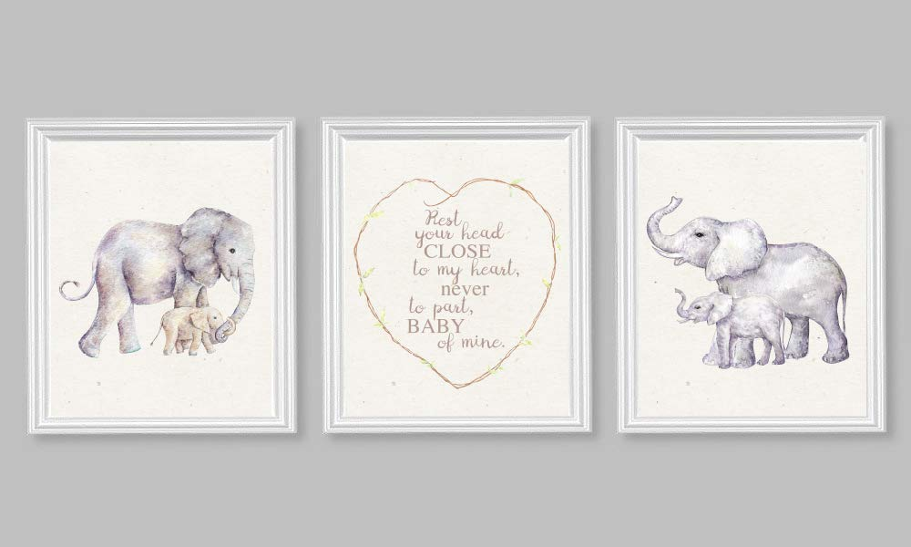 Nursery Art Elephant Wall Print Dumbo Quote Rest Your Head Close to My Heart (Set of 3) 8x10