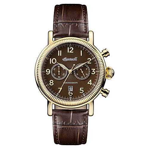 Ingersoll Men's Quartz Stainless Steel and Leather Casual Watch, Color:Brown (Model: I01003)