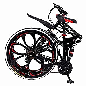 "【US Stock】 Folding Mountain Bike for Men & Women – 26"" Wheel 21 Speed Full Mountain Bike for Adults & Teens 