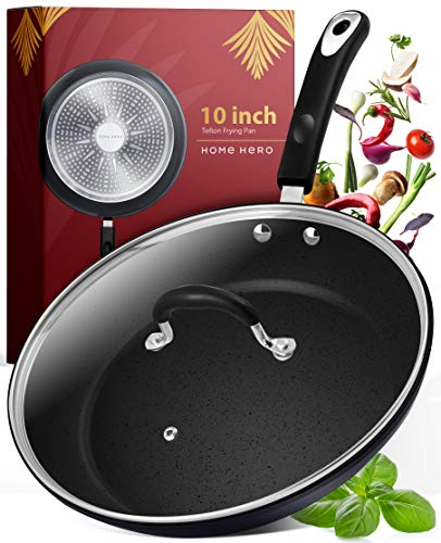 Frying Pan with Lid – 10 Inch Frying Pans Nonstick Skillet Pan Nonstick Frying Pan Skillets Nonstick with Lids Non Stick…