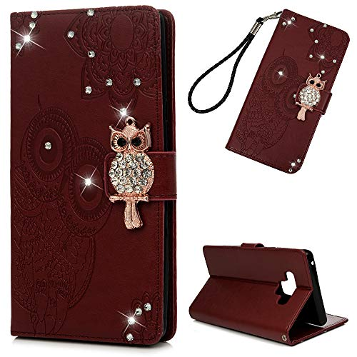 Galaxy Note 9 Case, Wallet Flip Folio Case Kickstand Card Slots Wrist String Embossed Cute Owl Diamond PU Leather Wallet Shockproof Soft TPU Rubber Bumper Slim Phone Cover for Samsung Galaxy Note 9