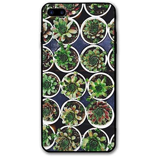 iPhone 7/8 Plus (5.5inch), Custom Design Rubber Case Compatible for iPhone 7/8 Plus Houseleek Pots Plant ()