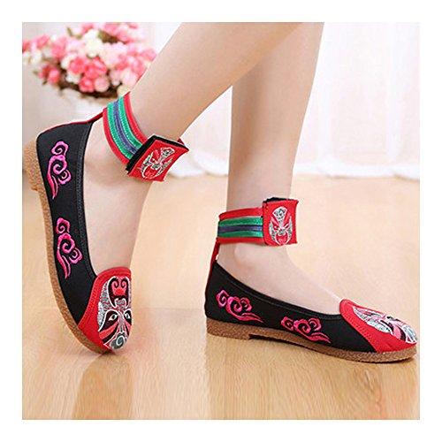 de Facial Estilo Paño Rojo Bordados Maquillaje Chino de Zapatos Pekín del zgEYnqwqx4