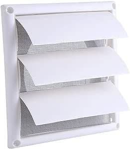 Utensilios Barbacoa Rejilla de ventilación de plástico Rejilla de ventilación 3 Flaps Parrilla de ventilación de ductos de pared con rejilla Rejilla de ventilación de aire de rejilla de plástico de Lo: