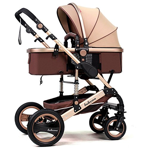 TZ Luxury Newborn Baby Foldable Anti-shock High View Carriage Infant Stroller Pushchair (golden) by Belecoo by belecoo