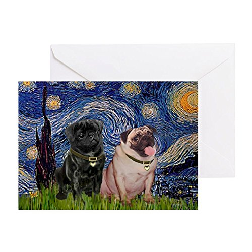 CafePress - Starry Night / 2 Pugs - Greeting Card, Note Card, Birthday Card, Blank Inside Matte