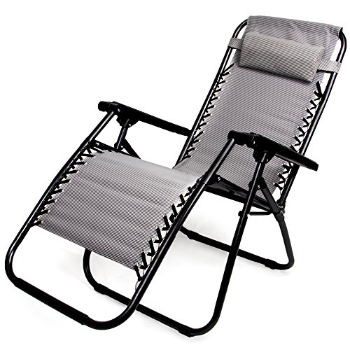 Zero Gravity Outdoor Folding Lounge Chair with Pillow, Gray
