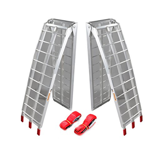 Autoforever Pair 7.5 ft Folding Loading Ramp 1500 lb Heavy Duty Aluminum Plate ATV UTV Dirt Bike Truck Motorcycle Arcingle Arched Ramps