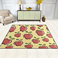 DEYYA Contemporary Area Rug Rugs Apple Non-Slip Floor Mat Doormats for Living Room Bedroom 63 x 48 inches
