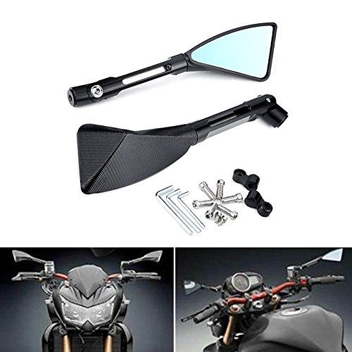 (KaTur Motorcycle Rearview Mirror Black Triangle Demon Blade Style CNC Machined Billet Aluminum 0MM Mounting Tool Bolts for Yamaha Aprilia BMW Buell Ducati Harley Davidson)