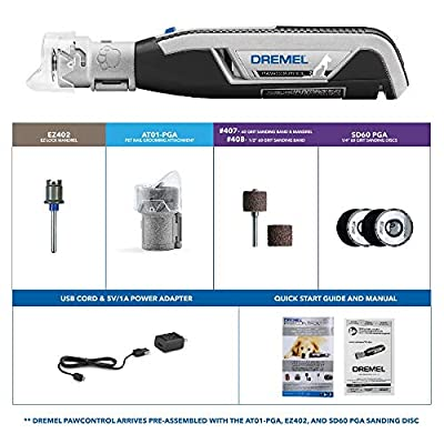 Dremel Pawcontrol 7760-PGK Cordless Pet Nail Grinder - Nail Trimmer for Dogs, Cats, Small Animals Claw Grooming Kit