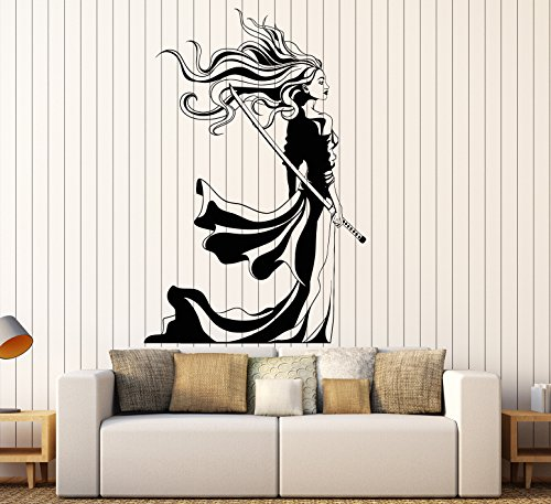 (DesignToRefine Vinyl Wall Decal Beautiful Samurai Girl Sword Woman Warrior Stickers Large Decor (1305ig) Black)
