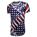HOT! YANG-YI Clearance Summer Men's Casual American Flag Print O Neck Short Sleeve T-Shirt Top Blouse (Blue, 2XL)