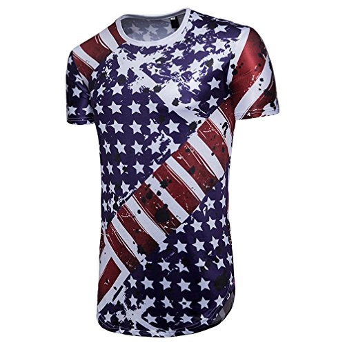 HOT! YANG-YI Clearance Summer Men's Casual American Flag Print O Neck Short Sleeve T-Shirt Top Blouse (Blue, 2XL) by YANG-YI Mens