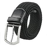 Weifert Men's Stretch Woven 1.3'Wide Elastic Braided Belts (42-45, Black 2)