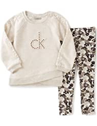 Calvin Klein Girls' Sweatshirt with Crochet Trim and Leggings Set