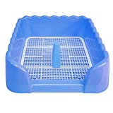 Be Good Pet Litter Box with Fence Portable Indoor Outdoor Dog Toilet Dog Training Tray with Vertical Pillar Plastic Potty Training Holder for Puppies and Small Pets Blue