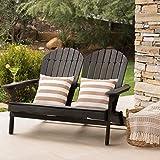 Great Deal Furniture Muriel Outdoor Dark Grey Finish Acacia Wood Adirondack Loveseat